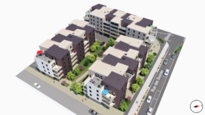 construction quartier 3D immeuble rue des sources
