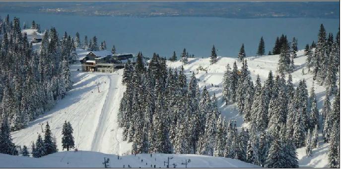 Restaurant altitude Thollon Les Mamises - Vue neige piste de ski